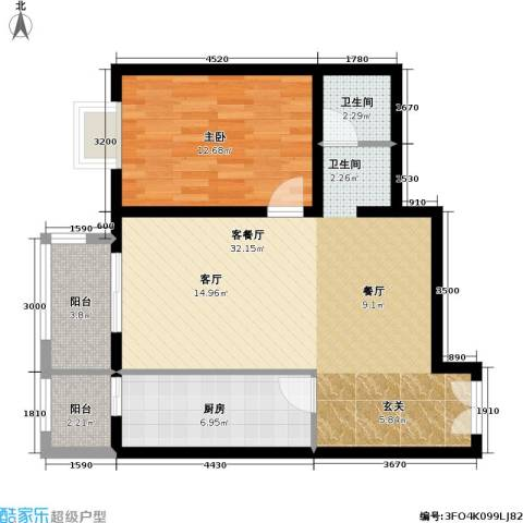 依莲轩二期1室1厅1卫1厨88.00㎡户型图
