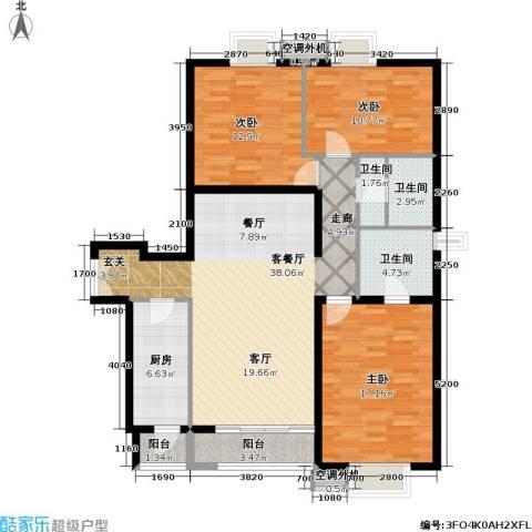 依莲轩二期3室1厅2卫1厨141.00㎡户型图