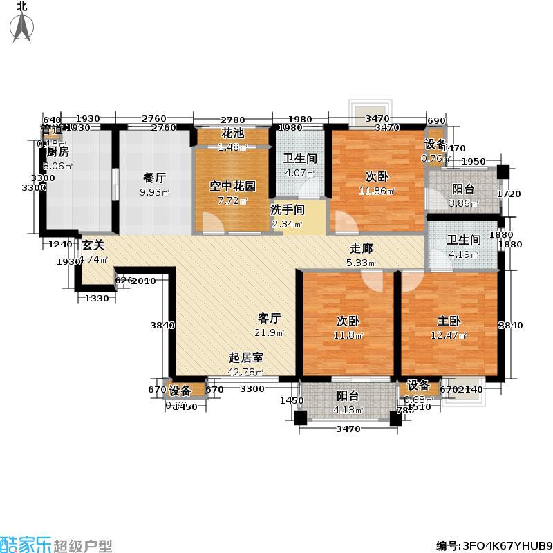 首开悦澜湾四期C4户型3室2卫1厨