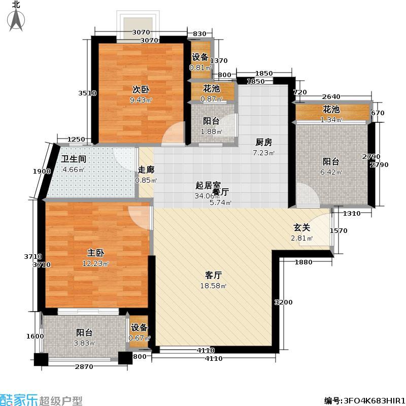 首开悦澜湾高层D3户型2室1卫