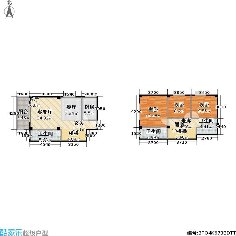 香奈天鹅湖117.00㎡香奈天鹅湖户型图B-C45户型三房二厅二卫(9/23张)户型3室2厅2卫
