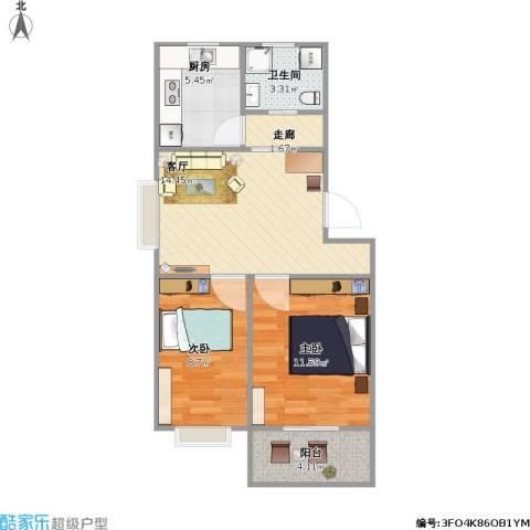 繁荣安居2室1厅1卫1厨67.00㎡户型图
