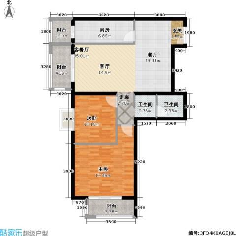 依莲轩二期2室1厅1卫1厨120.00㎡户型图