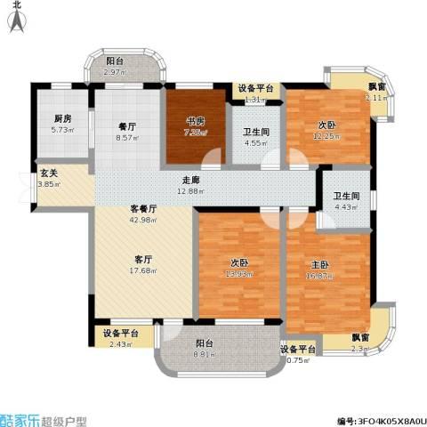 东方丽都花苑4室1厅2卫1厨173.00㎡户型图