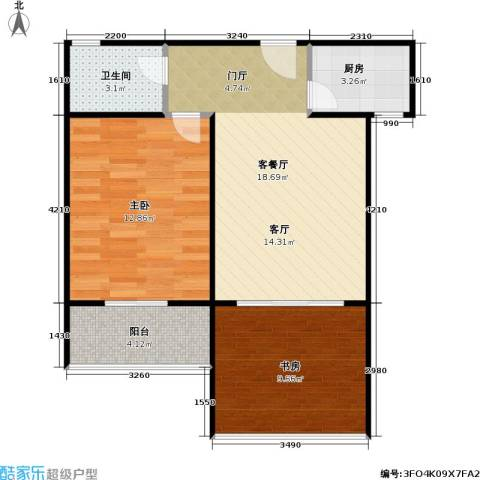香江康桥2室1厅1卫1厨56.00㎡户型图