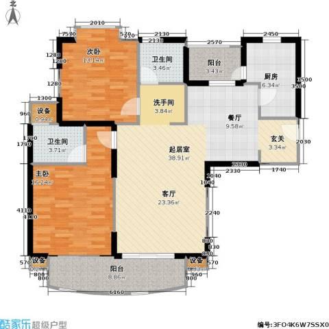 龙馨嘉园一期2室0厅2卫1厨95.62㎡户型图