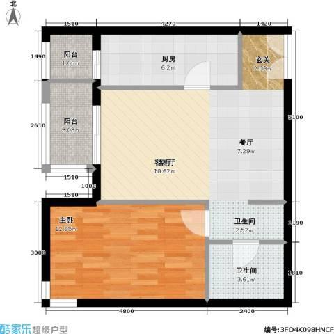 依莲轩二期1室1厅1卫1厨73.00㎡户型图