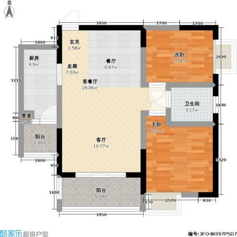 永年・高九领地2室1厅1卫1厨87.00㎡户型图