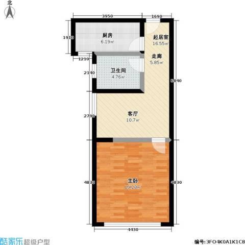 汇丰沁苑1室0厅1卫1厨50.00㎡户型图