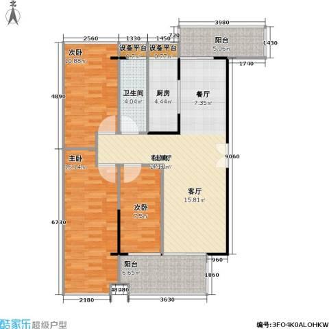 杰座3室1厅1卫1厨90.00㎡户型图