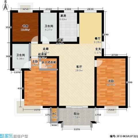 汇丰沁苑3室0厅2卫1厨130.00㎡户型图