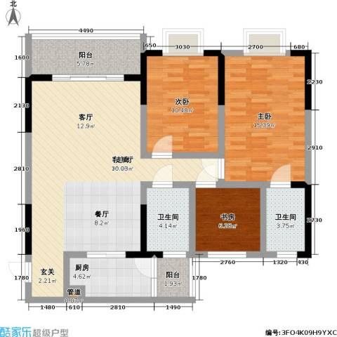 永年・高九领地3室1厅2卫1厨125.00㎡户型图