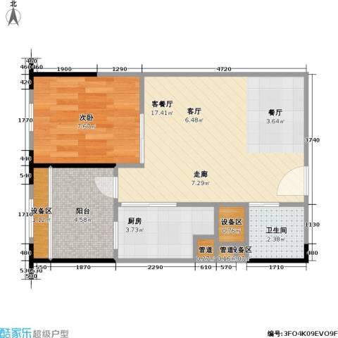 海语江山 海尔・海语江山1室1厅1卫1厨53.00㎡户型图