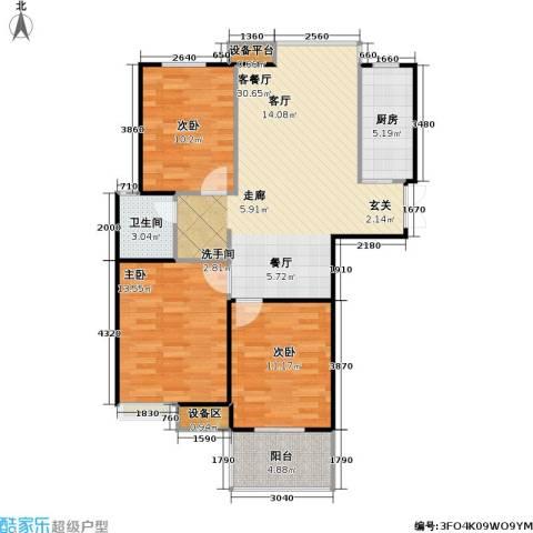 香江康桥3室1厅1卫1厨106.00㎡户型图