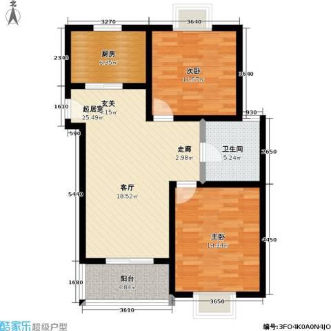 汇丰沁苑2室0厅1卫1厨70.00㎡户型图