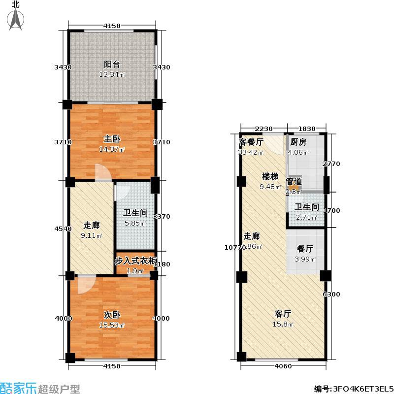 香奈天鹅湖104.00㎡香奈天鹅湖户型图户型B-d23二房二厅一卫(5/6张)户型2室2厅2卫