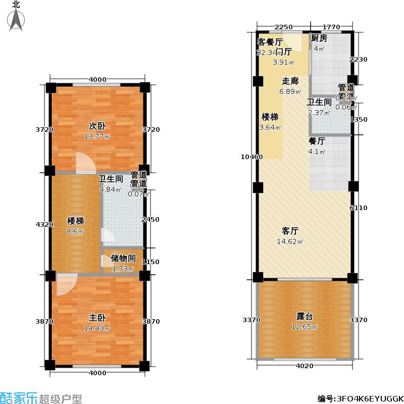 香奈天鹅湖104.00㎡香奈天鹅湖户型图户型C-d23二房二厅二卫(4/6张)户型2室2厅2卫
