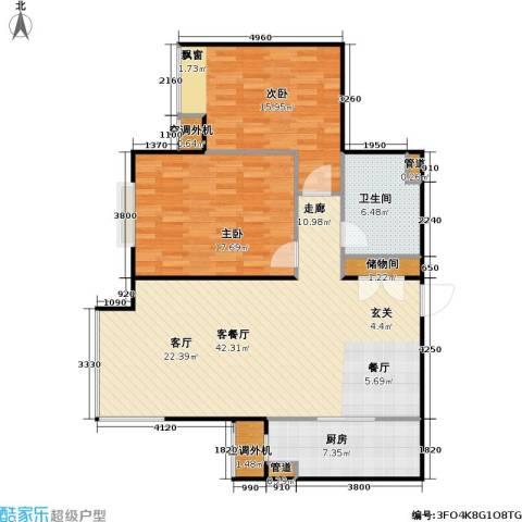 燕莎・后2室1厅1卫1厨99.00㎡户型图