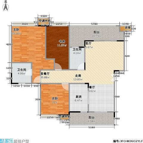 福江・名城 名城3室1厅2卫1厨117.00㎡户型图