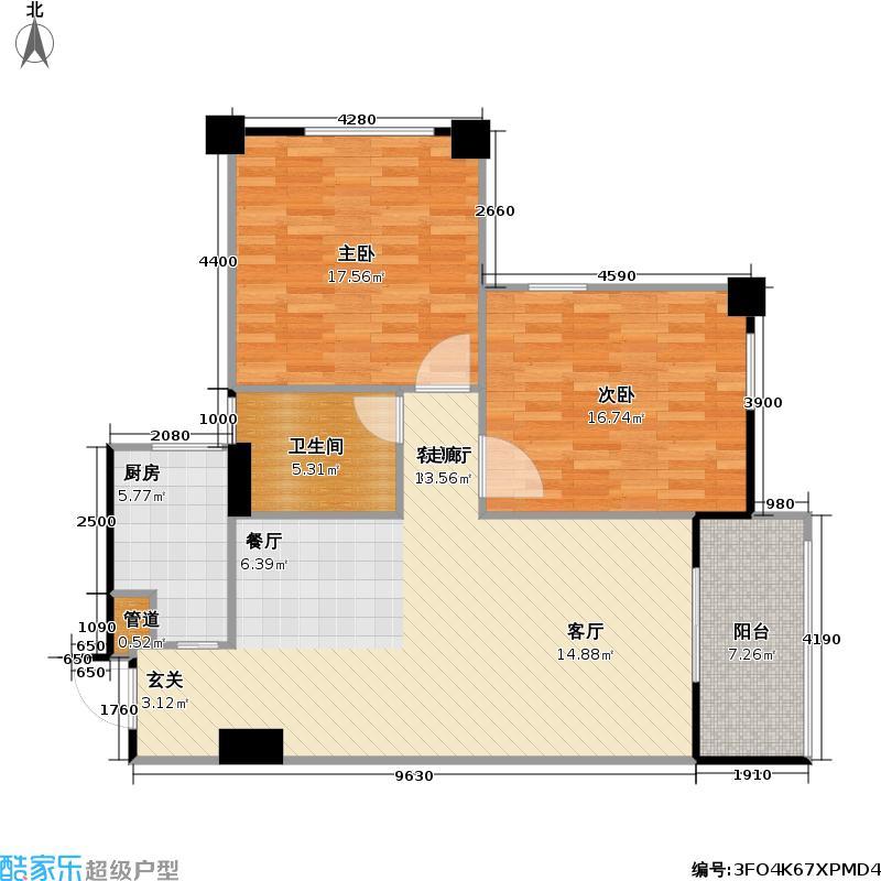 万景国际90.46㎡万景国际户型图二期5栋2单元二房二厅一卫(1/6张)户型10室