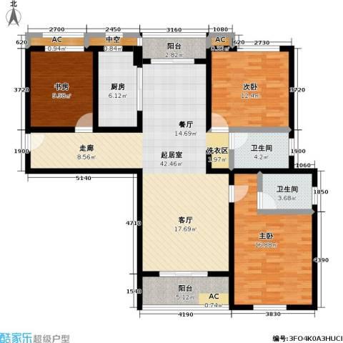 长虹名苑3室0厅2卫1厨155.00㎡户型图