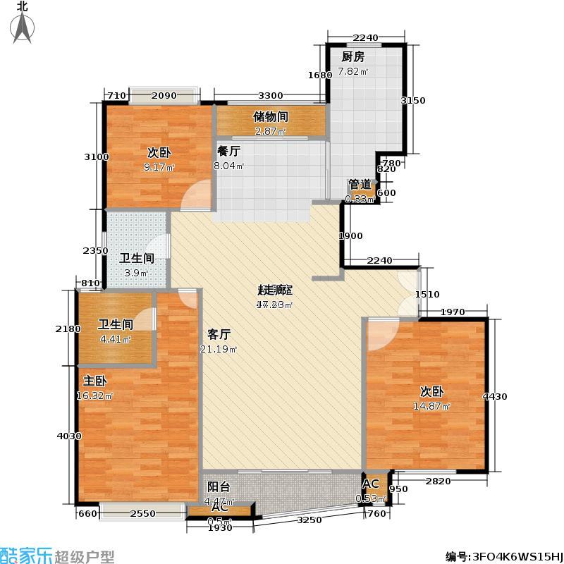 大上海国际花园一期房型户型3室2卫1厨