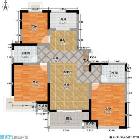 华伦公寓3室1厅2卫1厨143.00㎡户型图