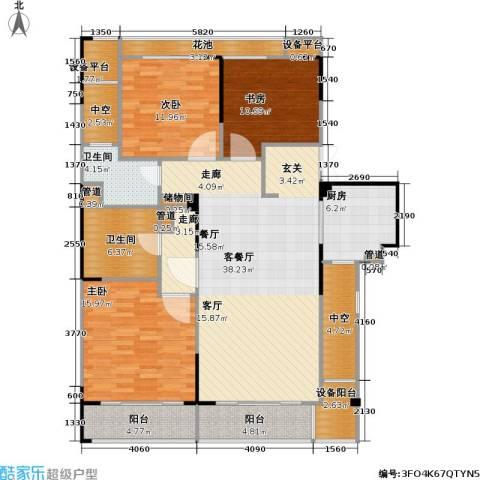 绿城・玉兰广场3室1厅2卫1厨130.00㎡户型图