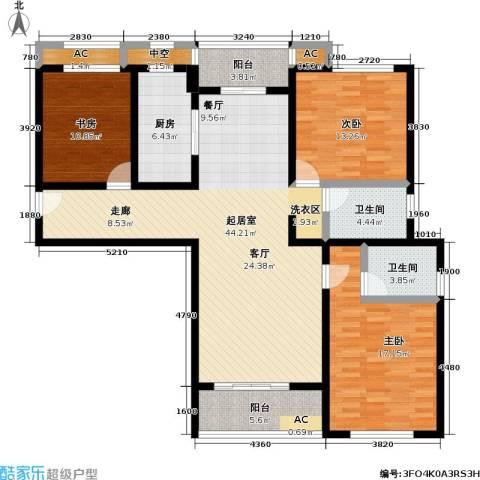 长虹名苑3室0厅2卫1厨124.00㎡户型图