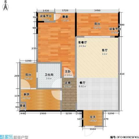 劲旅・丽景花园1室1厅1卫1厨76.00㎡户型图