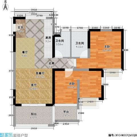 翡翠明珠花园2室1厅2卫0厨88.00㎡户型图