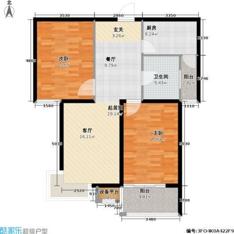 嘉城尚座2室0厅1卫1厨90.00㎡户型图