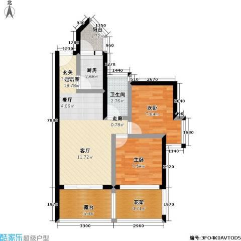 金港盛世华庭2室0厅1卫1厨60.00㎡户型图