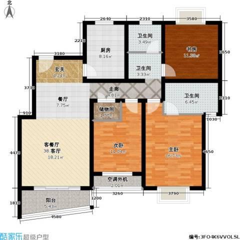 月泉湾名邸3室1厅2卫1厨121.00㎡户型图