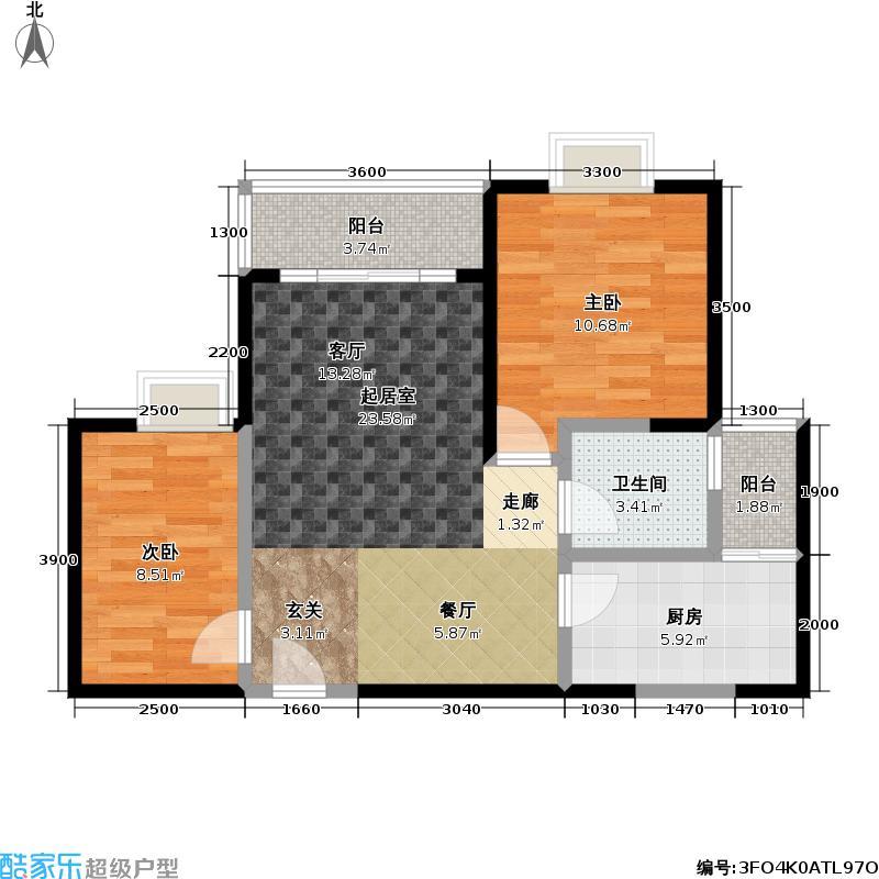金晖金色海琴苑户型2室1卫1厨