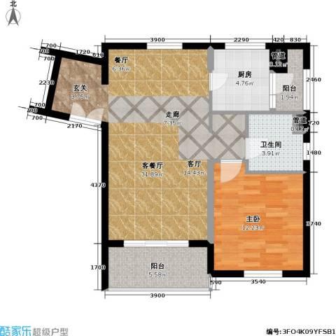 老西门新苑1室1厅1卫1厨80.00㎡户型图