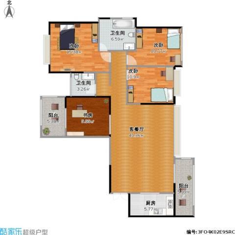 建发中央鹭洲4室1厅2卫1厨153.00㎡户型图