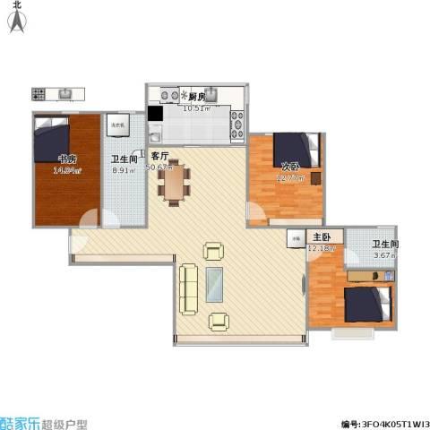 宝丰绿洲3室1厅2卫1厨150.00㎡户型图