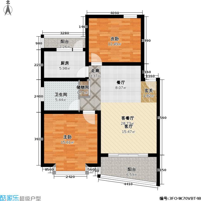 金舟苑82.00㎡房型: 二房; 面积段: 82 -89 平方米; 户型