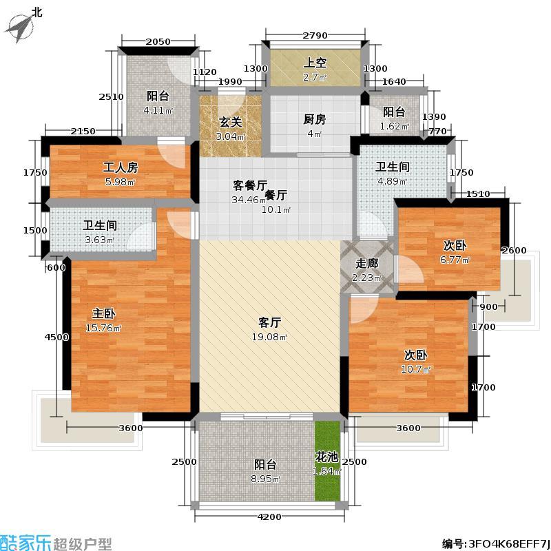 富通城五期户型3室1厅2卫1厨