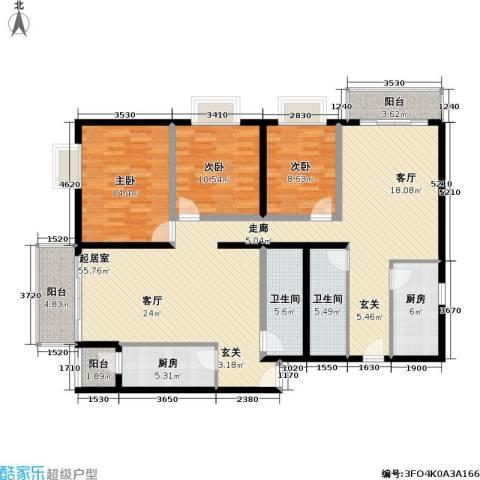 恬心家园(二期)3室0厅2卫2厨175.00㎡户型图