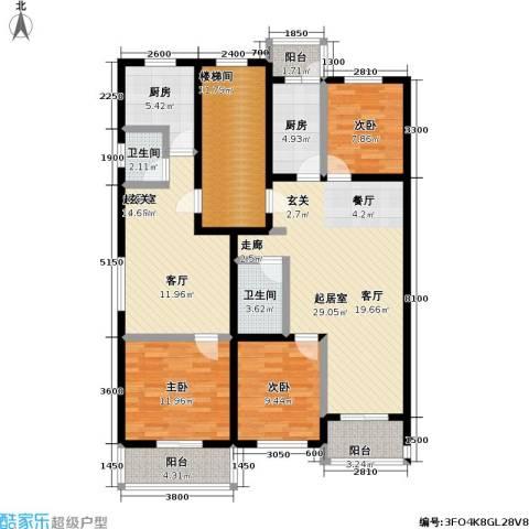 丰卉家园3室0厅2卫2厨164.00㎡户型图