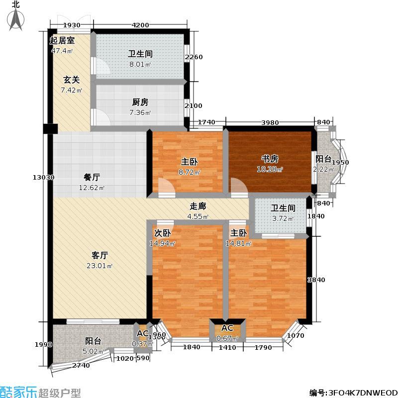 鹦鹉花园(五期)143.49㎡房型: 四房; 面积段: 143.49 -159.69 平方米;户型