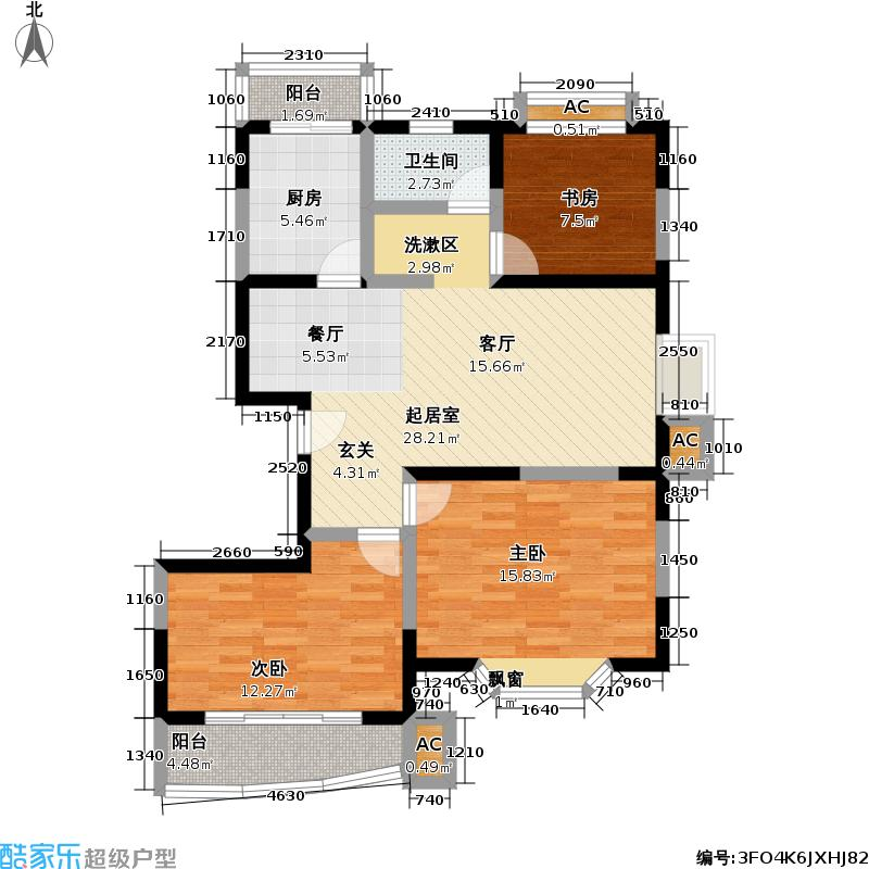 良城美景家园90.00㎡三房二厅一卫小户型