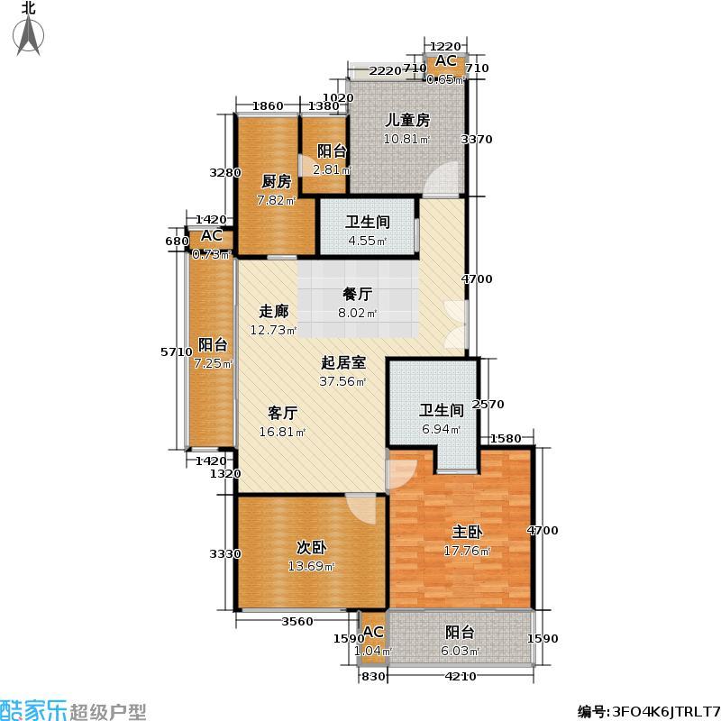 康桥半岛(五期)房型: 三房; 面积段: 120 -147 平方米; 户型