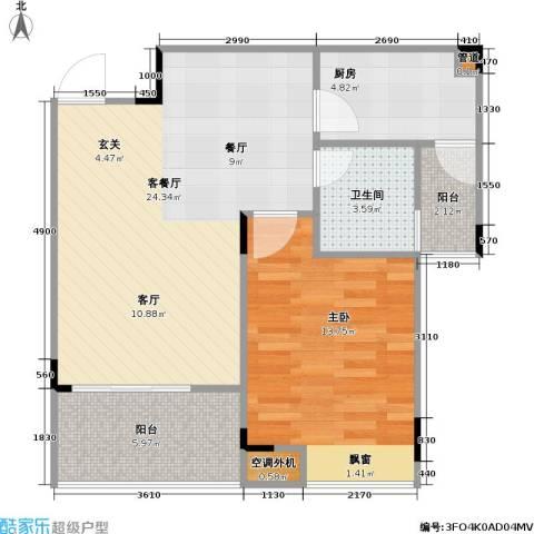 海兰云天假日风景1室1厅1卫1厨75.00㎡户型图