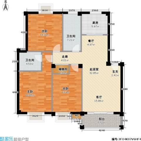创富时代名苑3室0厅2卫1厨114.00㎡户型图
