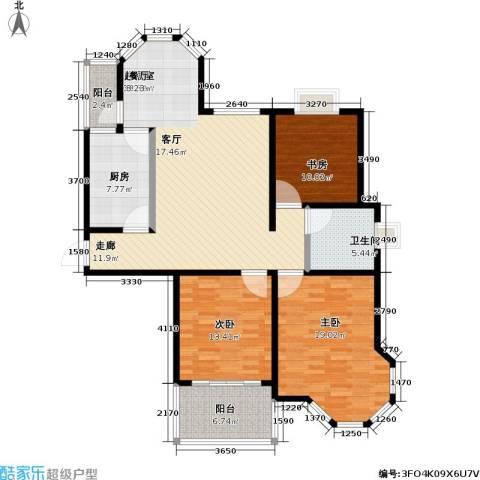 青枫公馆3室0厅1卫1厨116.00㎡户型图