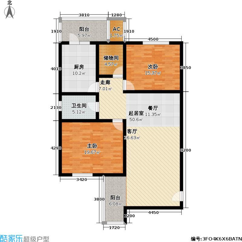 祥和名邸一期97.00㎡房型: 二房; 面积段: 97 -99 平方米;户型