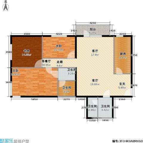 椿树园(尾盘)3室1厅4卫1厨130.00㎡户型图